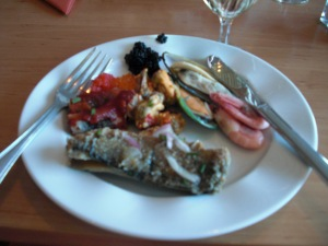 Cruise from Stockholm to Helsinki: Round1. Appetizers ... Focussed mainly on seafood ... Oysters, picked fish, Sturgeon Caviar ...